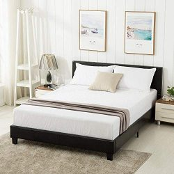 Mecor Faux Leather Bonded Platform Bed Frame Upholstered Panel Bed Queen Size,No Box Spring Need ...
