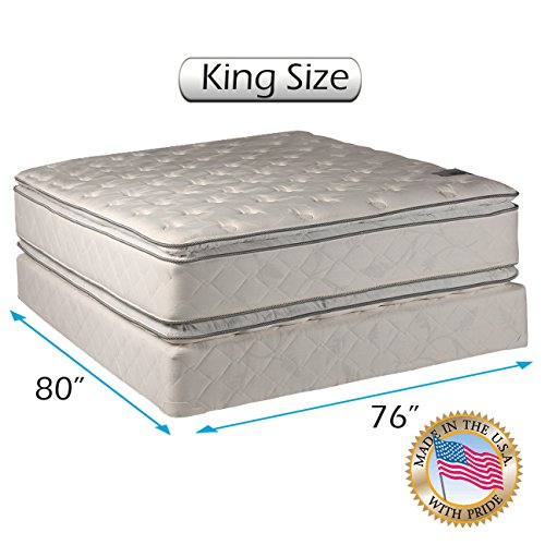 Dream Solutions Pillow Top Mattress and Box Spring Set (King) Double-Sided Sleep System with Enh ...