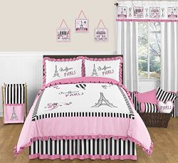 Sweet Jojo Designs 3-Piece Pink, Black and White Stripe Paris Childrens and Teen Full / Queen Fr ...