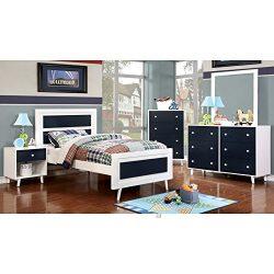 Alivia Blue & White Finish Full Size 5-Piece Bedroom Set / NO TRUNDLE