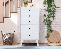 LUCKUP 5 Drawer Exquisite Design Tall Chest,Wooden Simple and Stylish Furniture For Bedroom,Livi ...