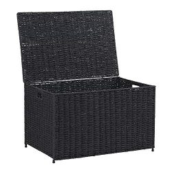Household Essentials ml-7135 Decorative Wicker Chest Lid Storage Organization, Large, Black
