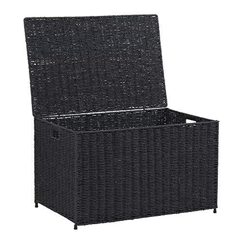 Household Essentials ml-7135 Decorative Wicker Chest Lid Storage Organization, Large, Black