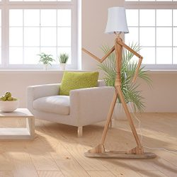 HROOME Modern Contemporary Decorative Wooden Floor Lamp Light with Fold White Fabric Shade Adjus ...