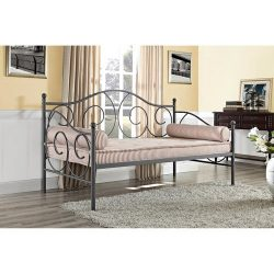 Metal Pewter Colored Frame Daybed, Twin Size, Bedding, Living Room Furniture, Contemporary Desig ...