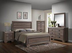 GTU Furniture Lyndon 5Pc Weathered Grey Panel Bedroom Set (Queen Bed, Nightstand,Dresser,Mirro ...