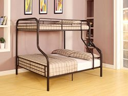 Major-Q Sandy Black Finish Metal Tube Supported Twin/Full Convertible Bunk Bed with Ladder & ...