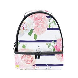 U LIFE Spring Summer Floral Roses Flowers Striped Insulated Kids Lunch Bag Bags Box Tote for Gir ...