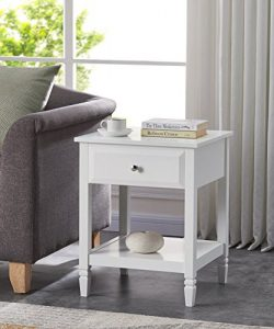 White Finish Contemporary Nightstand Side End Table with Drawer 24″ H