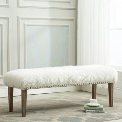 Yongchuang Pure White Glamorous Soft Faux Fur Modern Style Decorative Bench Footrest Ottoman Nai ...