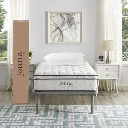 """Modway Ultimate Quilted Pillow Top 10"""" Jenna Twin Innerspring Mattress – Individually Enca ..."""