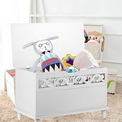 IKAYAA Rectangle Storage Chest Large Children's Toy Blanket Storage Chest Bench