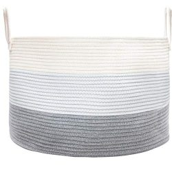 OrganiHaus XXL Cotton Rope Basket | Blanket Storage Basket with Long Handles | Decorative Clothe ...