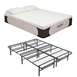 Classic Brands Cool Gel Ultimate Gel Memory Foam 14-Inch Mattress with Hercules Heavy-Duty 14-In ...