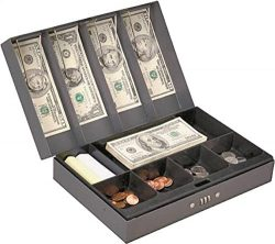 Rocky Mountain Goods Cash Box with Money Tray Combination Lock – 4 Spring loaded bill clip ...