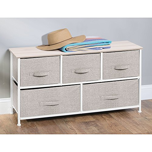 mDesign Extra Wide Dresser Storage Tower – Sturdy Steel Frame, Wood Top, Easy Pull Fabric  ...