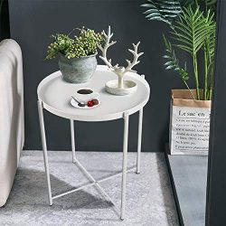 "Round Side Table – 20"" Small Metal Folding Tray End Table, Modern Steel Patio/Garden ..."