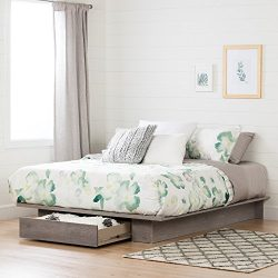 "Full/Queen Platform Bed with Drawer for Extra Storage Space, (54/60"") Profiled Shape, Lami ..."