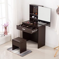 Mecor Vanity Table Set with Sliding Mirror/Drawers,Wood Makeup Dressing Table and Stool (Espresso)