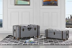 Sofamania 2-Piece Classic Tufted Linen Fabric Storage Chests/Accent Table/Bench (Grey)