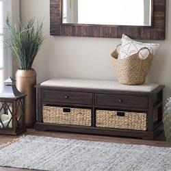 Padded Storage Bench With 2 Drawers And 2 Cubbies Including Woven Baskets, Extra Space, Made Of  ...