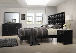 Roundhill Furniture B350PQDMN Gloria 350 Black Finish Wood Bed Room Set, Queen Bed, Dresser, Mir ...