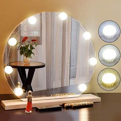 2018 Newest Vanity Mirror Lights Kit Hollywood Style 8 Dimmable LED Light Bulbs Warm White to Da ...