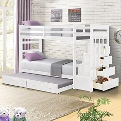 Harper&Bright Designs Wood Twin Over Twin Bunk Bed with Trundle/Storage Ladder (White)