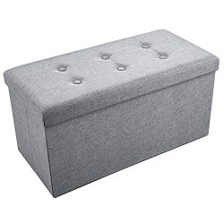 Storage Ottoman, Sable 30″ Foldable Bench Seat, Linen Foot Stool, Folding Storage Chest/Fo ...