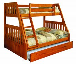 Discovery World Furniture Twin over Full Bunk Bed with Twin Trundle, Honey