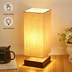 Touch Control Table Lamp Bedside 3 Way Dimmable Touch Desk Lamp Modern Nightstand Lamp with Squa ...
