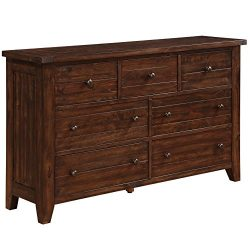 Modus Furniture 9CR182 Cally Solid Wood Dresser, Antique Mocha