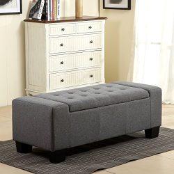 Belleze 48″ Rectangular Fabric Tufted Storage Ottoman Bench, Large, Slate Grey