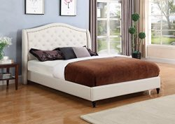 Home Life Cloth Light Beige Cream Linen Curved Hand Diamond Tufted and Nailed Headboard 53″ ...