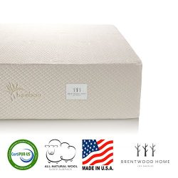 Brentwood Home Cypress Mattress, Bamboo Derived Rayon Cover, Gel Memory Foam, Made in USA, 13-In ...