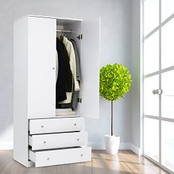 Kinbor Two Door Wardrobe Cabinet Armoire, with Three Drawers, and Hanging Rod (white)