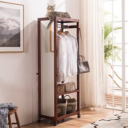 "67"" Tall Free Standing Closet Wardrobe Bedroom Armoires with Full Length Dressing Floor Mi ..."