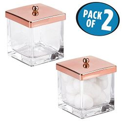 mDesign Bathroom Vanity Square Glass Storage Organizer Canister Jar, with Lid for Q tips, Cotton ...