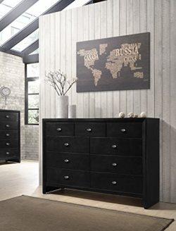 Roundhill Furniture Gloria Black Finish Wood 9 Drawers Dresser