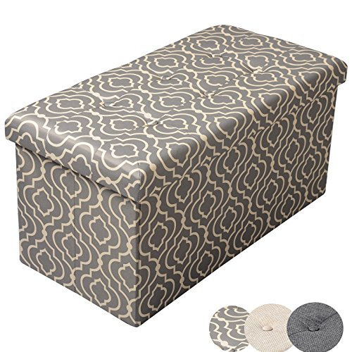 WOLTU Large Ottoman Foldaway Storage Blanket Toy Box Bench Printcloth Gray 30x15x15 inch MDF Con ...