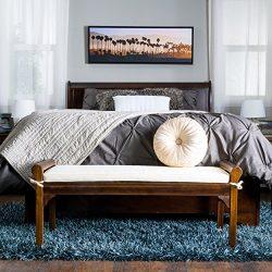 Dixon Mahogany Stained Wood Bench w/Ivory Cushion