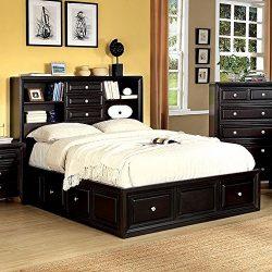 Yorkville Espresso Storage Bookcase Queen Platform Bed