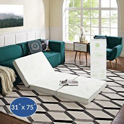 "Modway 4"" Relax Tri-Fold Mattress CertiPUR-US Certified with Soft Removable Cover and Non-Slip B ..."