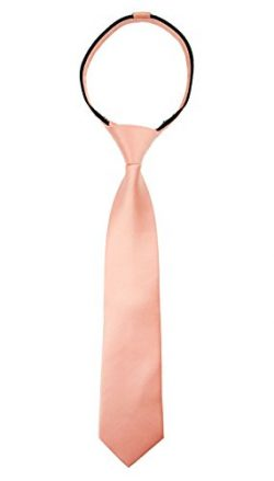Spring Notion Boys' Satin Zipper Neck Tie with Gift Box Large Peach