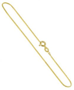 Gem Avenue 14K Gold over 925 Sterling Silver Vermeil 1mm Box Chain Bracelet with Spring Ring Cla ...