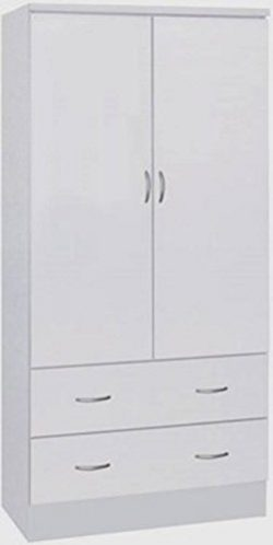 Hodedah Two Door Wardrobe, with Two Drawers, and Hanging Rod, White