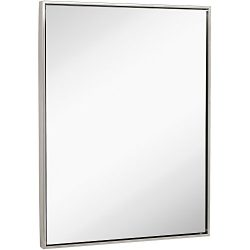 Clean Large Modern Brushed Nickel Frame Wall Mirror | Contemporary Premium Silver Backed Floatin ...