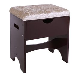 BEWISHOME Vanity Stool Bedroom Makeup Bench Piano Seat with Upholstered Seat and Storage, Brown  ...