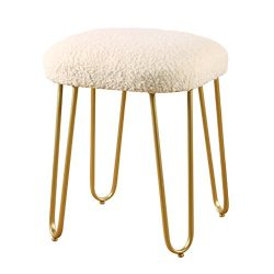 DYFYMX,Stylish Stool Fashion Vanity Stool Shoe Bench White Long Hair Stool Bedroom Stool Dresser ...