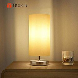 Bedside Table Lamp,TECKIN Minimalist Fabric Desk Lamp, Metal Nightstand Lamp with Fabric Shade f ...
